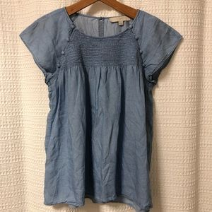 LOFT Chambray/Denim Babydoll Blouse XS